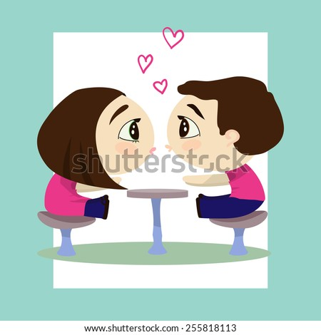 Boy and Girl Valentine's Day card - stock vector