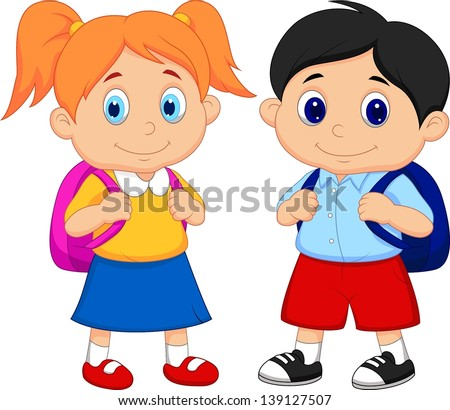 Boy and girl with backpacks - stock vector