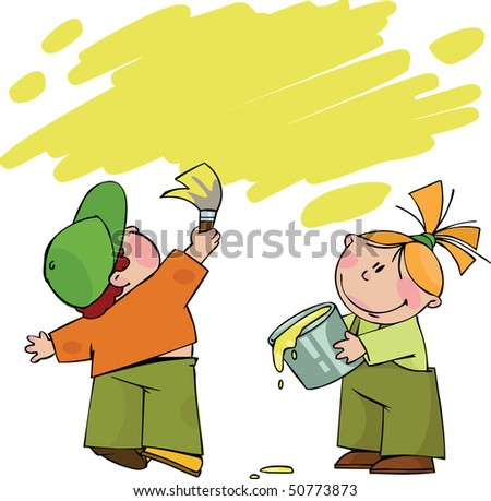 Boy and girl with paint - stock vector