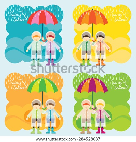 Boy and Girl with Umbrella Rainy Season Background Set, Monsoon, Rain,  - stock vector
