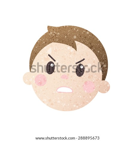 boy angry face with beautiful texture. - stock vector