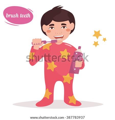 Boy brushing his teeth. Child. Hygiene.  Vector isolated illustration. Cartoon character.  - stock vector