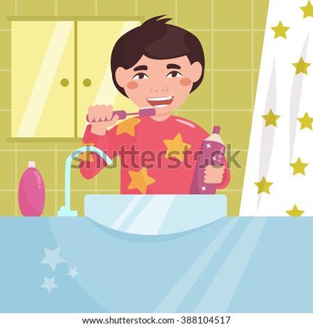 Boy brushing his teeth in the bath. Child. Hygiene.  Vector isolated illustration. Cartoon character.  - stock vector
