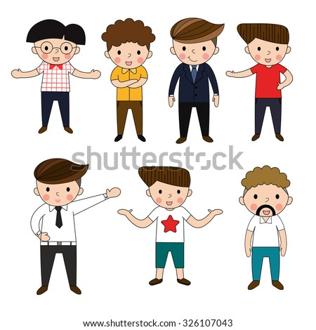boy cartoon many employment person pose business present show enjoy and smile   - stock vector