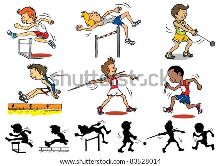 Boy character playing Olympic games - stock vector