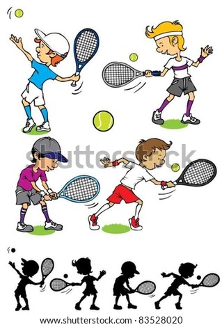 Boy character playing tennis - stock vector