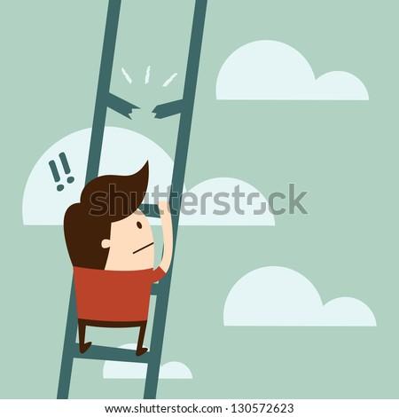 boy climbing up a ladder. - stock vector