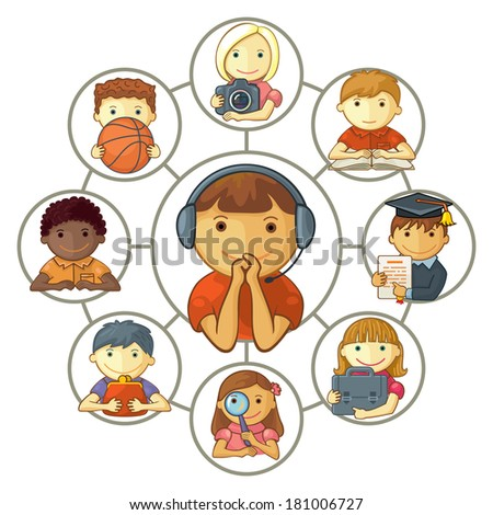 Boy Connected Through Social Media With Friends - stock vector