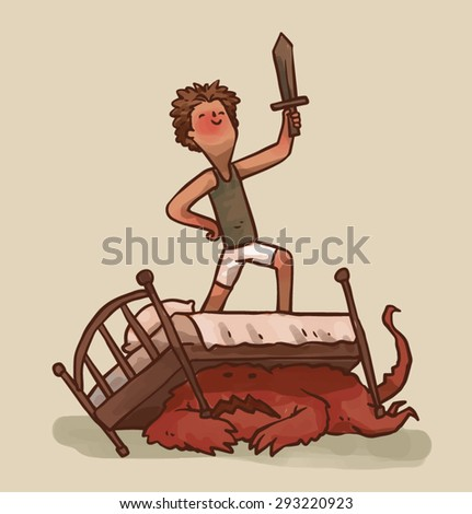 Boy defaets a monster, vector - stock vector