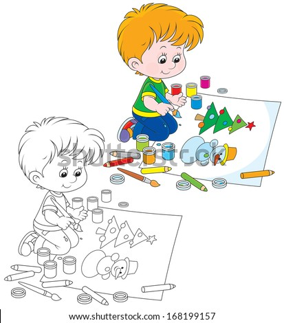 Boy drawing a picture with a funny snowman and Christmas tree - stock vector