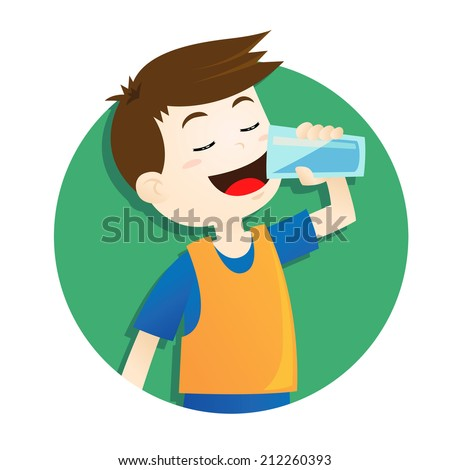 boy drinking water - stock vector