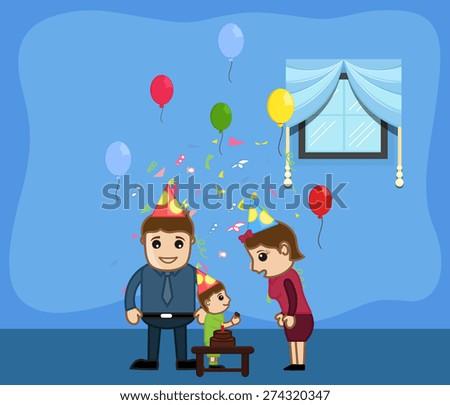 Boy Feeding Cake to Mother on His Birthday - stock vector