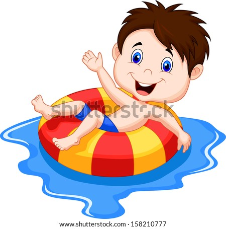 Boy floating on an inflatable circle in the pool - stock vector