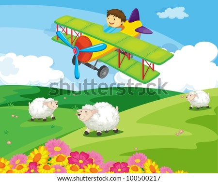 Boy flying over a field with sheep - stock vector