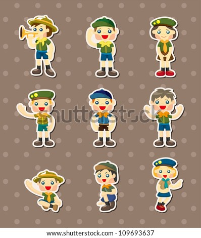 boy/girl scout  stickers - stock vector