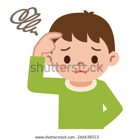 Boy has puzzled - stock vector