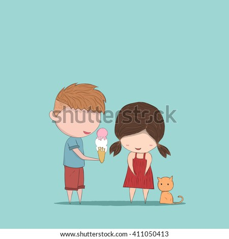 Boy heart-shaped Ice cream gives Girl and cat, cute Valentine's Day card, drawing by hand vector - stock vector