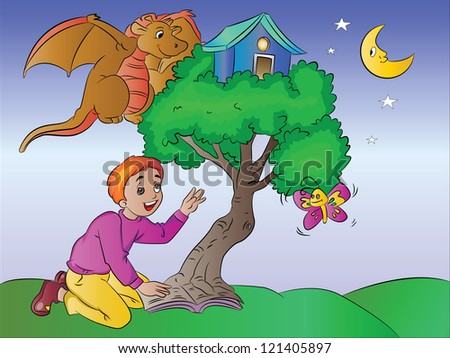 Boy Imagining a Treehouse with Butterfy and Dragon from a Book, vector illustration - stock vector