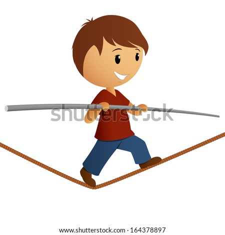 Boy in red shirt balance on the rope. Vector illustration. - stock vector