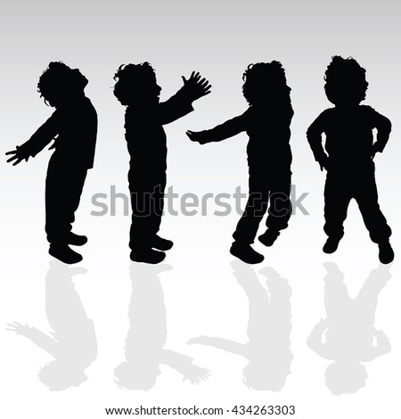 boy in various pose set silhouette illustration - stock vector