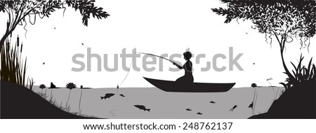 boy is fishing on the boat near the river banks in forest. - stock vector