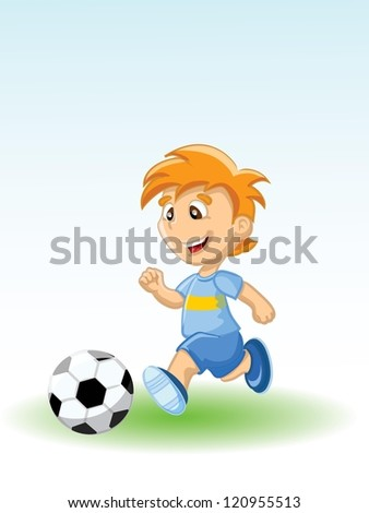 Boy is playing football, background - stock vector