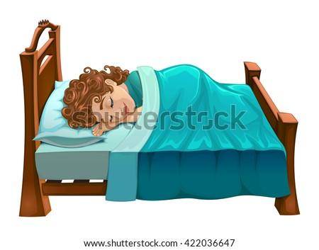 Boy is sleeping on his bed. Vector cartoon isolated scene. - stock vector