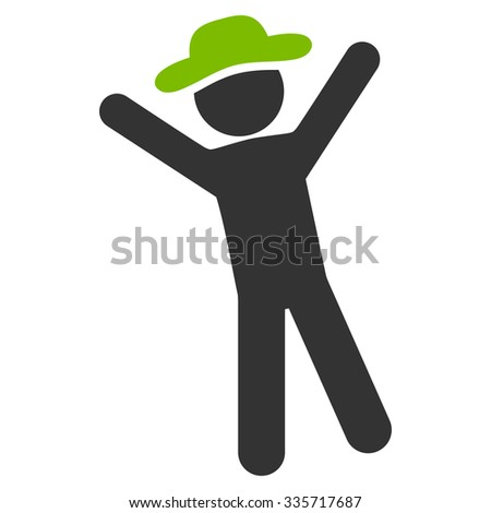 Boy Joy vector icon. Style is bicolor flat symbol, eco green and gray colors, rounded angles, white background. - stock vector
