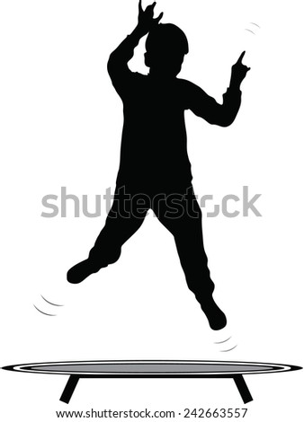 boy jumping trampoline vector silhouette  - stock vector