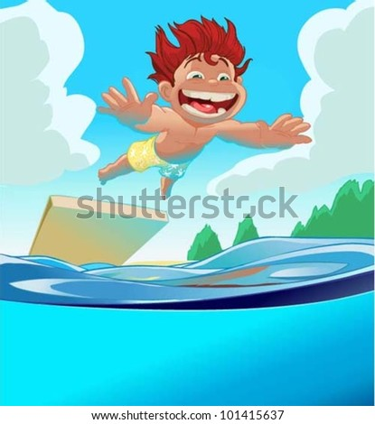 boy jumps into the water - stock vector