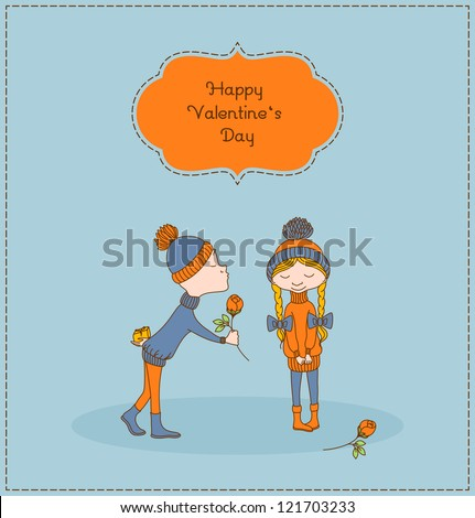 Boy kisses girl, gives gift and flower. Vintage valentine's day card. Vector illustration. - stock vector