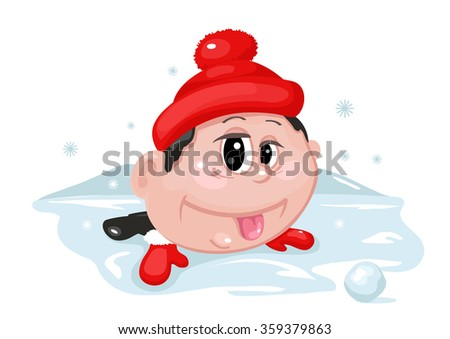 Boy lying in the snow and showing tongue - stock vector