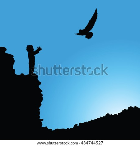 boy on cliff silhouette illustration with bird - stock vector