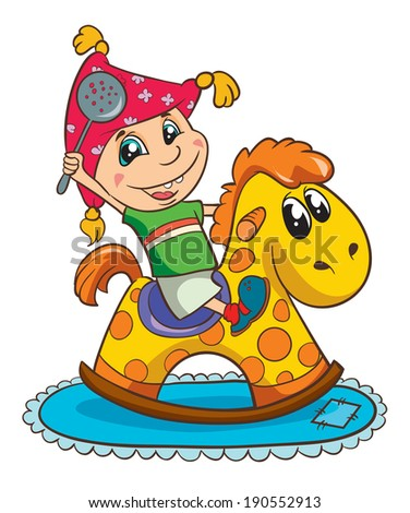 boy on toy horse, vector illustration on white background - stock vector