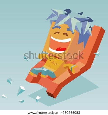 boy on water slide.vector illustration - stock vector