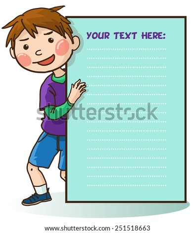 Boy peeping behind one placard for text. Back to School isolated objects on white background. Great illustration for a school books and more. VECTOR. Editorial. Education. Advertising. Board. - stock vector