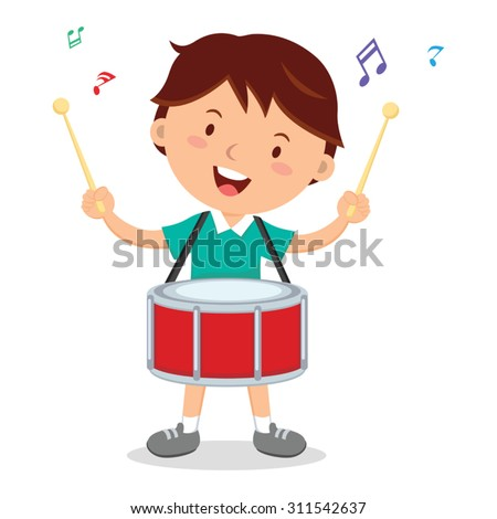 Boy playing drum. Vector illustration of a cheerful boy playing drum. - stock vector