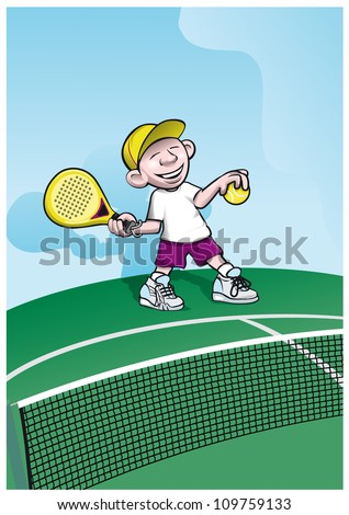 boy playing padelball - stock vector