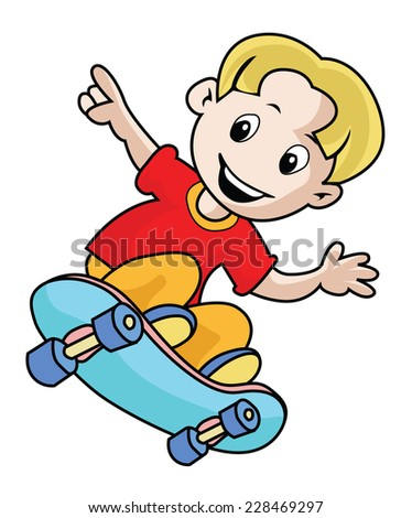 Boy playing Skateboarding isolated on white - stock vector