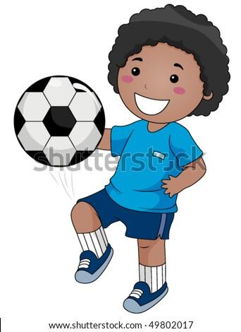 Boy playing Soccer - Vector - stock vector