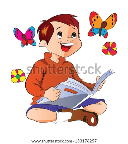 Boy Reading a Book About Flowers and Butterflies, vector illustration - stock vector