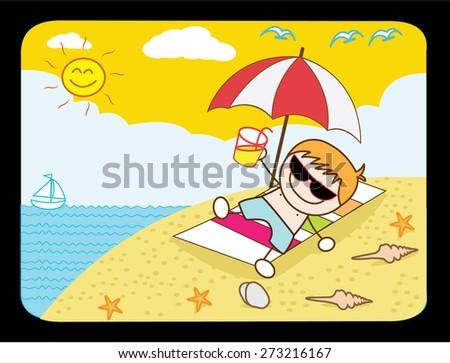 Boy relax at beach - stock vector