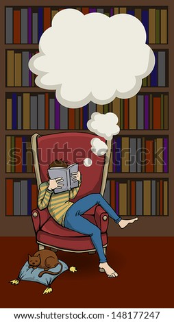 Boy Relaxing With a book next to a bookcase and a cat sleeping next to him, vector illustration  - stock vector