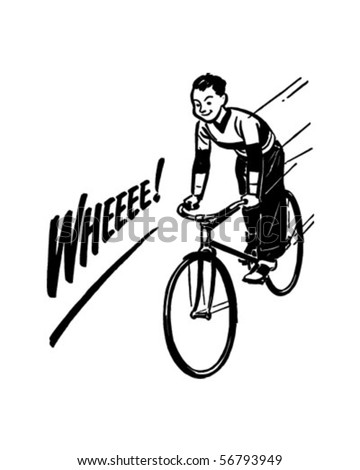 Boy Riding Bike - Retro Clip Art - stock vector