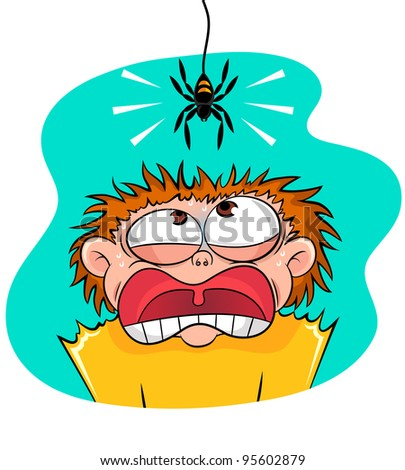 boy scared of a spider - stock vector