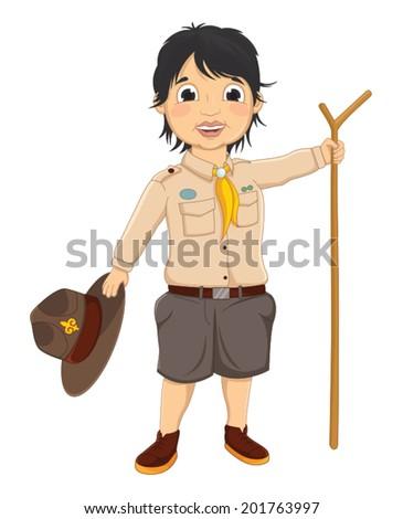 Boy Scout Vector Illustration - stock vector