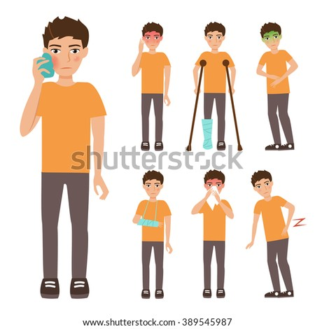 Boy. Set with sick people. Headache, toothache, broken leg, broken arm, Allergy, runny nose, nausea, back pain. Vector isolated illustration. Cartoon character.  - stock vector