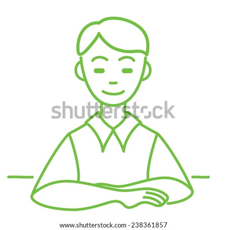 Boy sitting at a table - stock vector