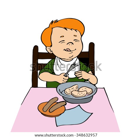 boy sitting at the dinner table.Vector illustration. - stock vector
