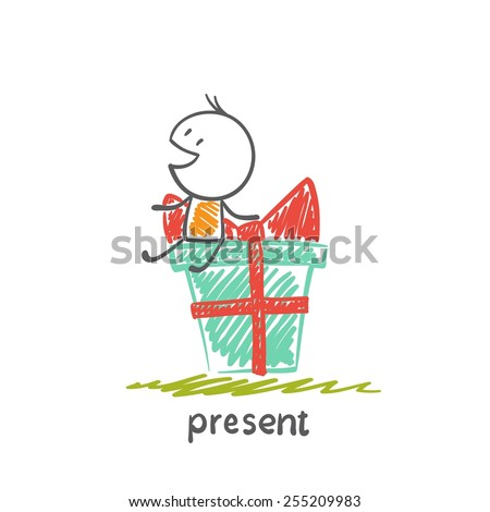 boy sitting on a great gift illustration - stock vector